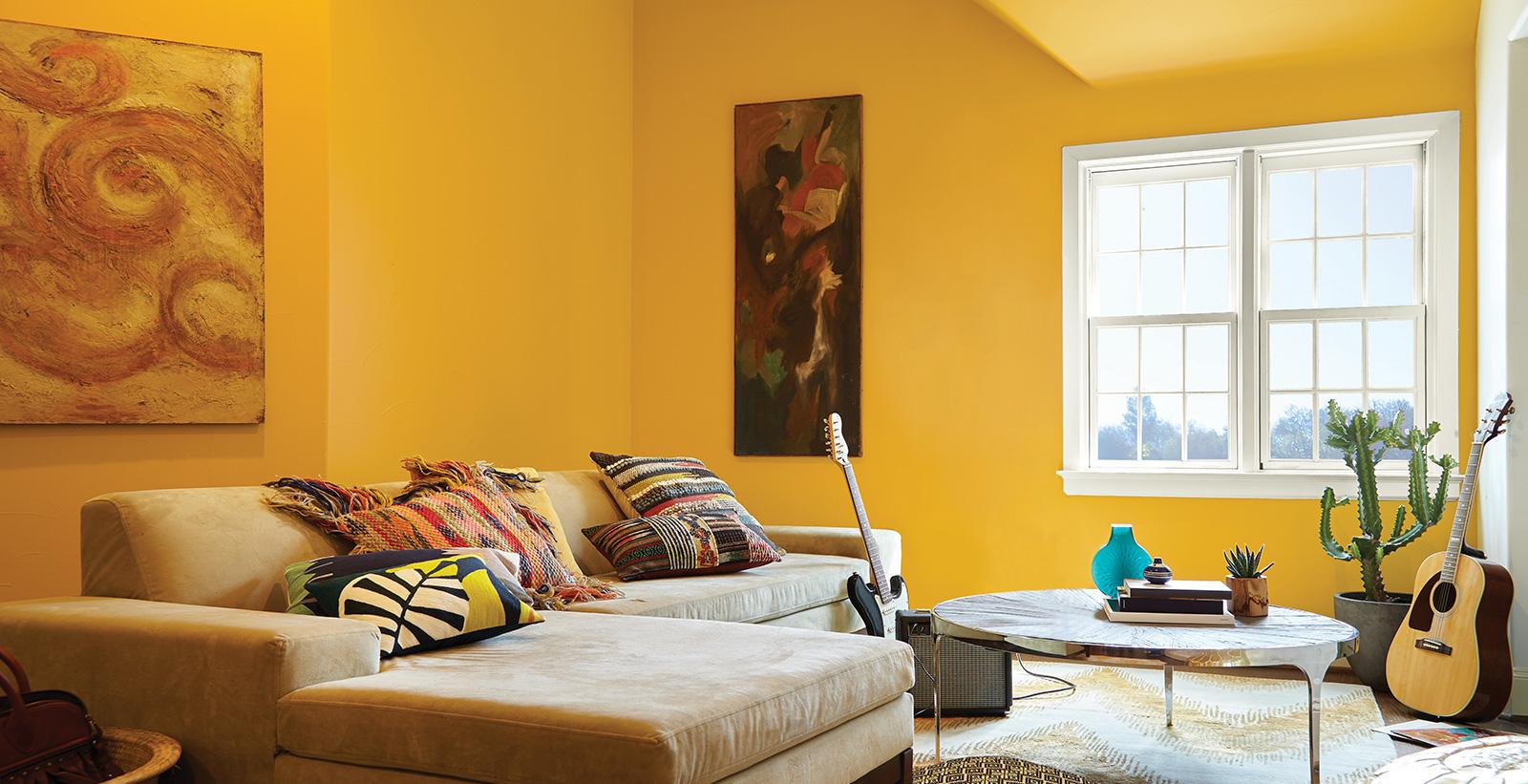 Ideas para Salas de Estar Amarillas e Inspiración para Colores de Pintura | Behr