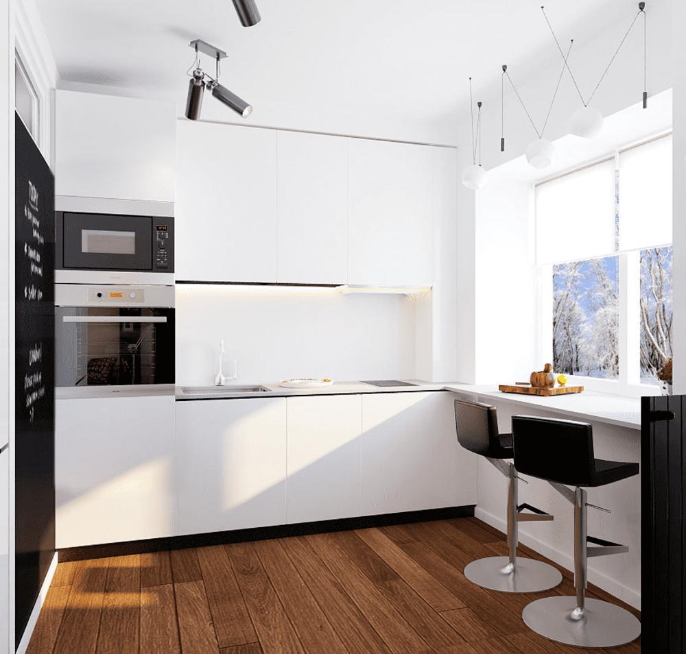 Барная стойка на угловой кухне малой площади