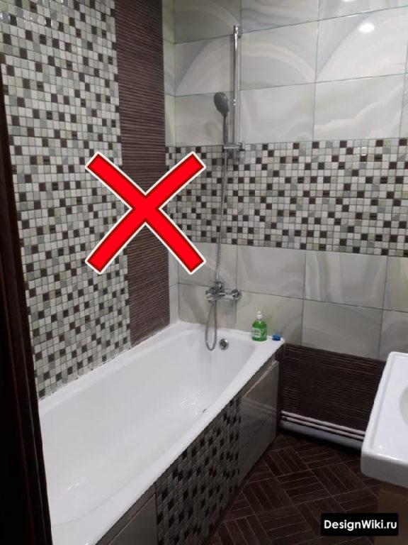 Неправильное распределение плитки по стенам ванной #дизайн #ванная