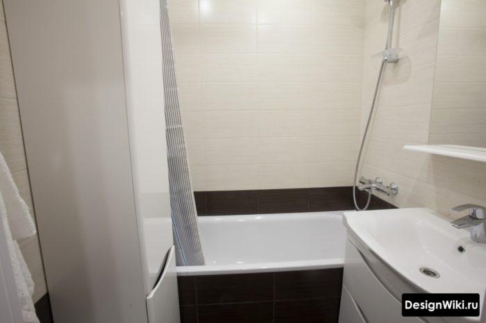 Система хранения в маленькой ванной в хрущевке