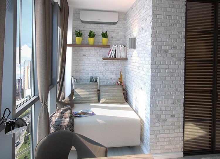 Фото разделения комнаты на две зоны с помощью её объединения с лоджией