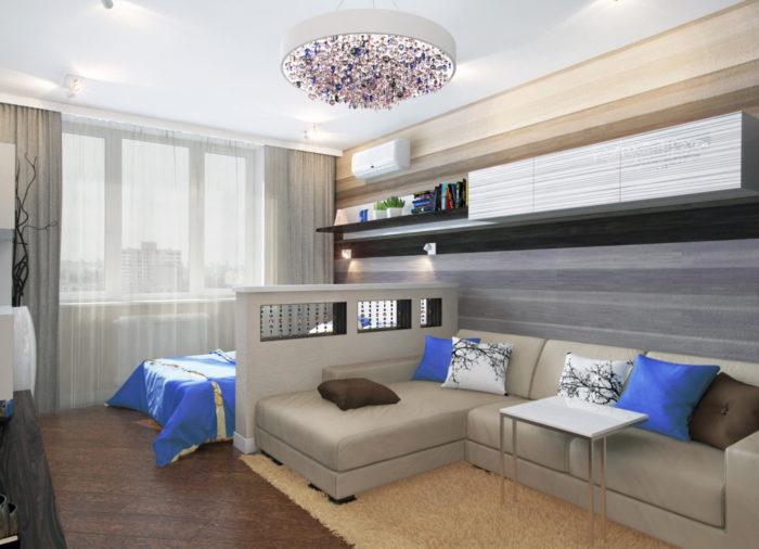 Варианты зонирования гостиной и спальни