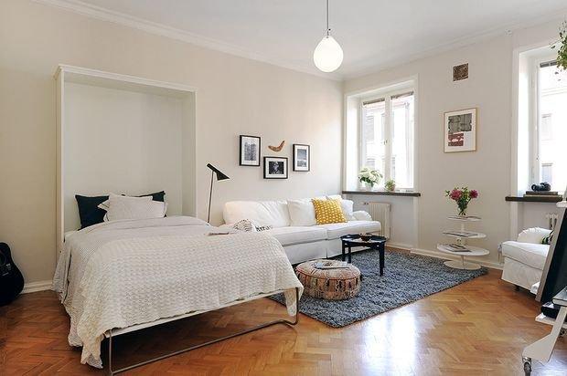 Фотография: в стиле , Гостиная, Спальня, Малогабаритная квартира, Квартира, Дом, Планировки, Перепланировка – фото на INMYROOM