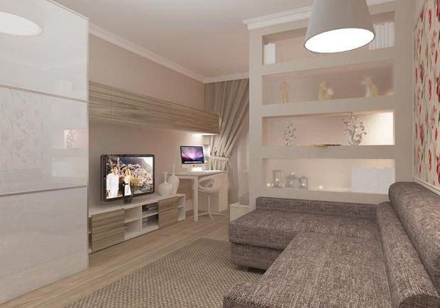 Фотография: Спальня в стиле Современный, Гостиная, Малогабаритная квартира, Квартира, Дом, Планировки, Перепланировка – фото на INMYROOM