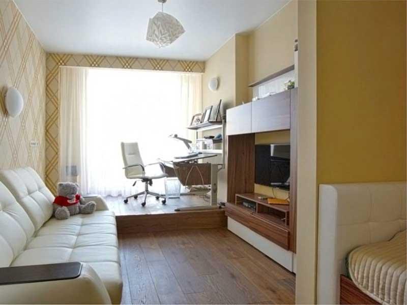 Зонирование комнаты на спальню и гостиную фото 9