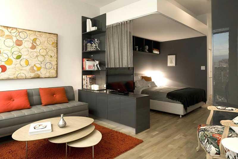 Выделение зоны спальни и гостиной в прямоугольной комнате