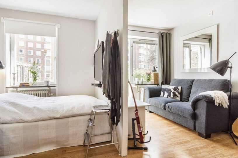 Зонирование гостиной и спальни реальные фото