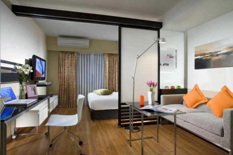 Варианты зонирования спальни и гостиной